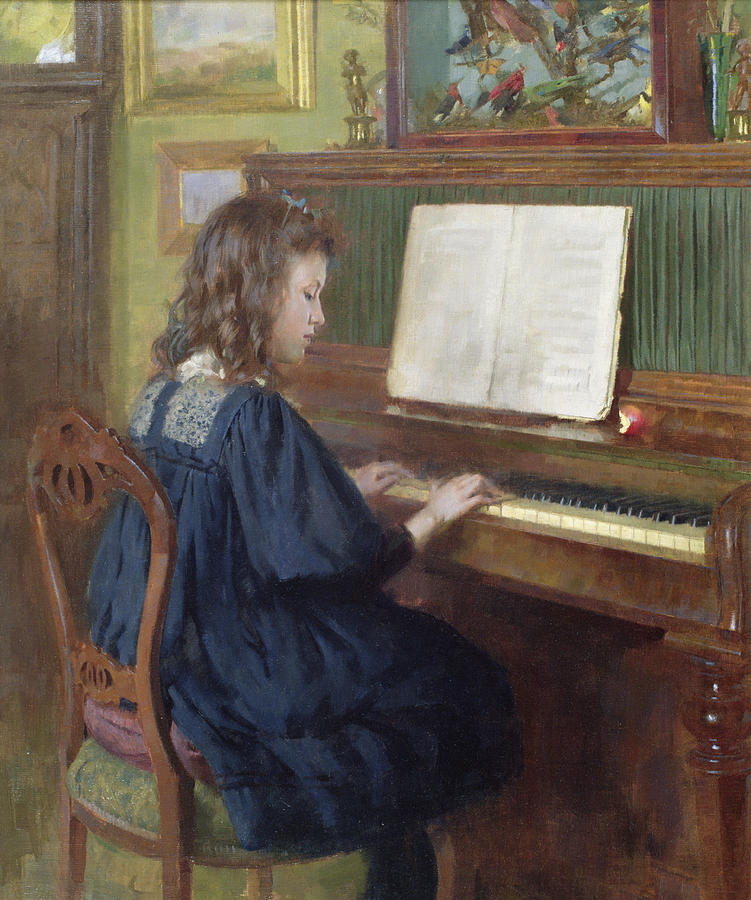 Playing The Piano Painting by Ernest Higgins Rigg