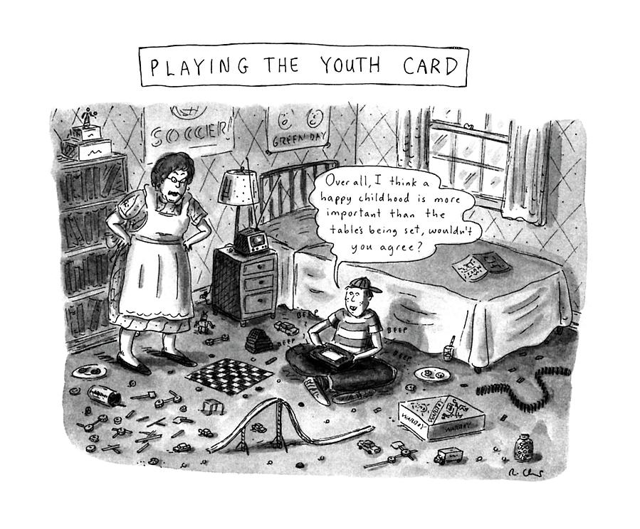 Playing The Youth Card Drawing by Roz Chast
