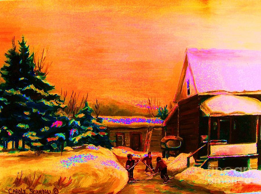 Hockey Painting - Playing Until The Sun Sets by Carole Spandau
