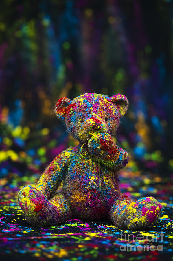 Teddy Bear Photograph - Playing With Coloured Powder by Tim Gainey