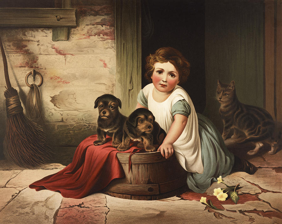 Girl Painting - Playing With Friends Circa 1850 by Aged Pixel