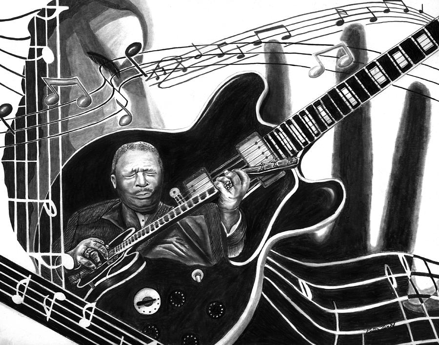 Bb King Drawing - Playing With Lucille - Bb King by Peter Piatt