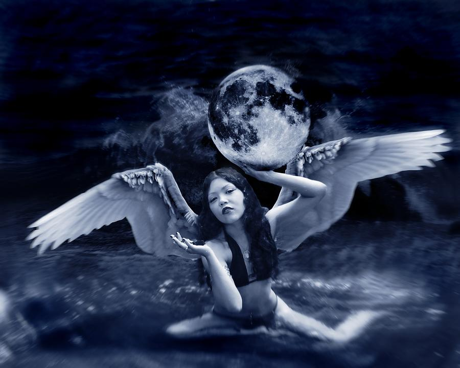 Angel Photograph - playing with the Moon by Mayumi Yoshimaru