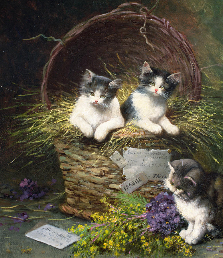 Cat Painting - Playtime by Leon Charles Huber