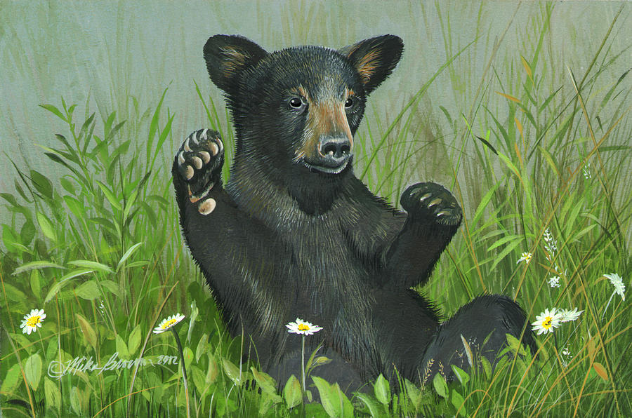 Black Bear Painting - Playtime by Mike Brown