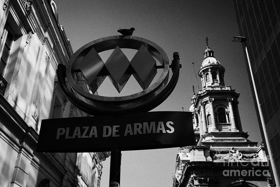 Santiago Photograph - plaza de armas metro station near Santiago Metropolitan Cathedral Chile by Joe Fox