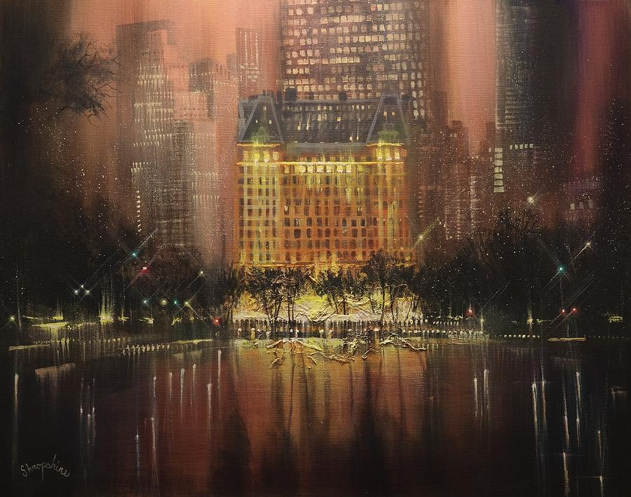 Central Park Painting - Plaza Hotel New York City by Tom Shropshire