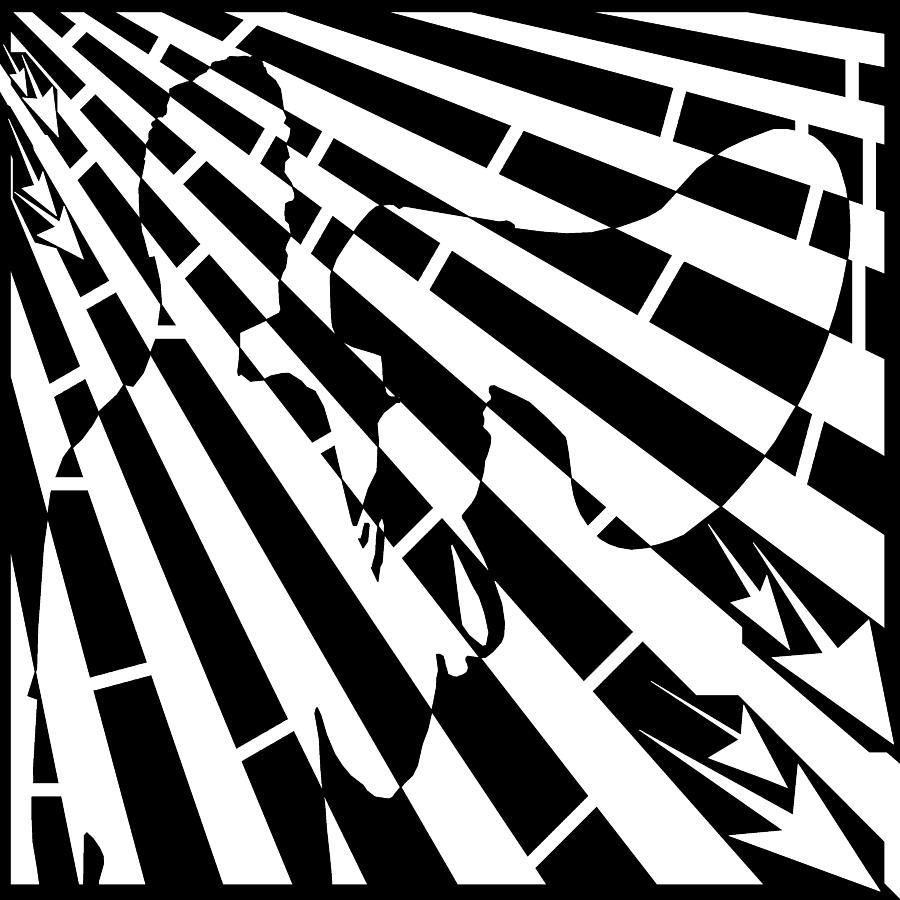 Please Drawing - Please Step Away Maze  by Yonatan Frimer Maze Artist