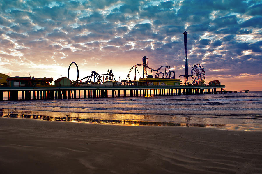 Pleasure Pier Photograph - Pleasure Pier Galveston At Dawn by John Collins