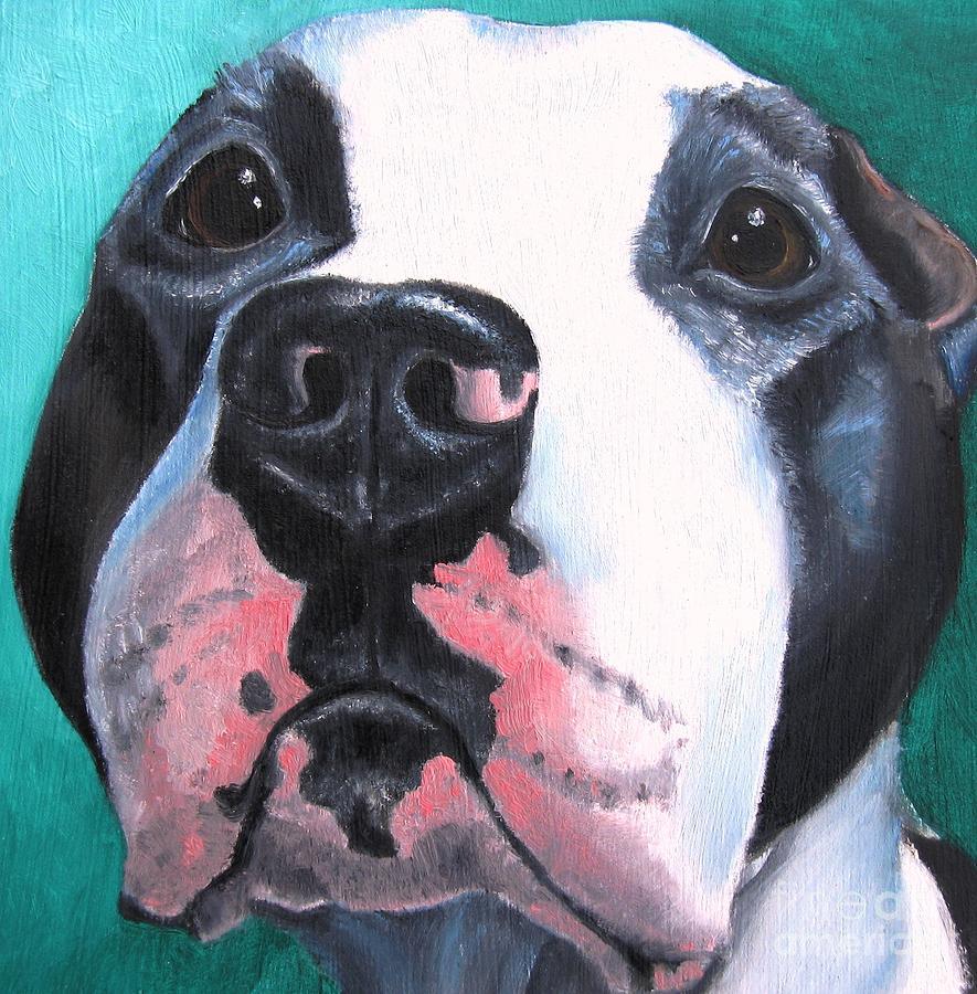 Pitbull Painting - Pleeeaaasssseee? by Debbie Finley