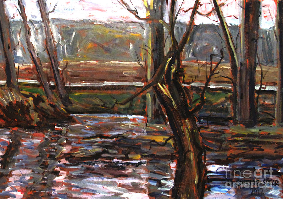 Landscape Painting - Plein Air Of The Eel After Alfred Sisley by Charlie Spear