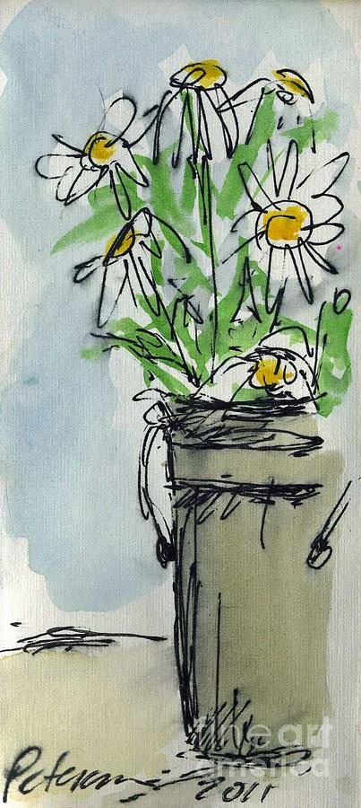 Plein Air Sketchbook. Ventura California 2011.  Tall Bucket Of Daisies From My Backyard Cathy Peterson Painting - Plein Air Sketchbook. Ventura California 2011.  Tall Bucket Of Daisies From My Backyard by Cathy Peterson