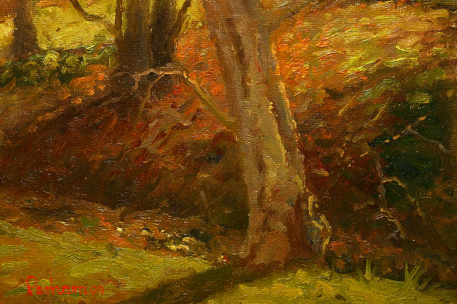 Impressionist Painting - Plein Air Winter Trunks by Terry Perham