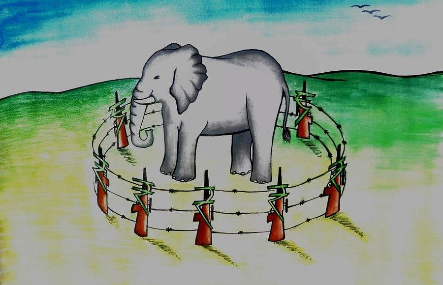 Ganesh Painting - Plight Of Elephants by Tanmay Singh