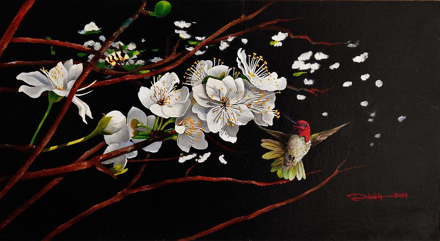 Birds Painting - Plum Blossoms And Annas Hummingbird by Dana Newman