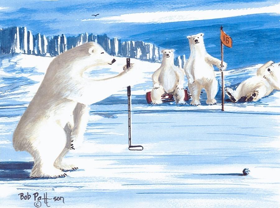 Polar Bears Painting - Plumb-bob Putter by Bob Patterson