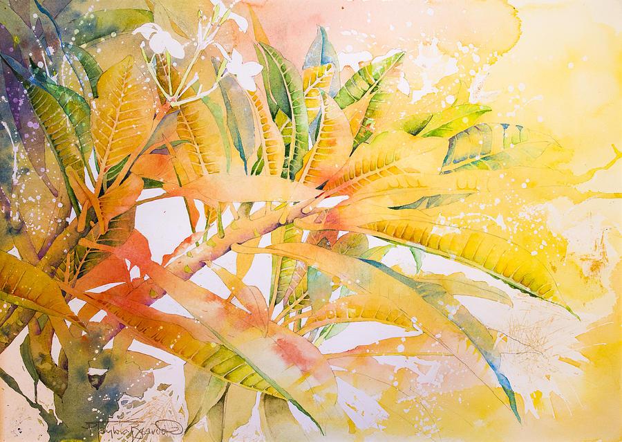 Plumeria Painting - Plumeria Fireworks by Penny Taylor-Beardow