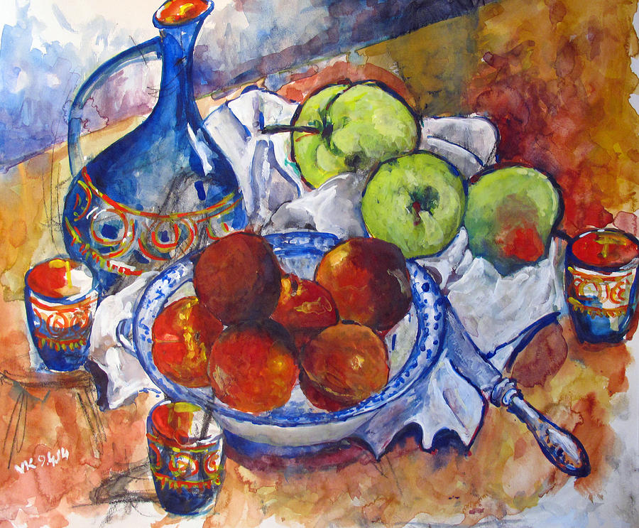 Apples Painting - Plums Apples by Vladimir Kezerashvili
