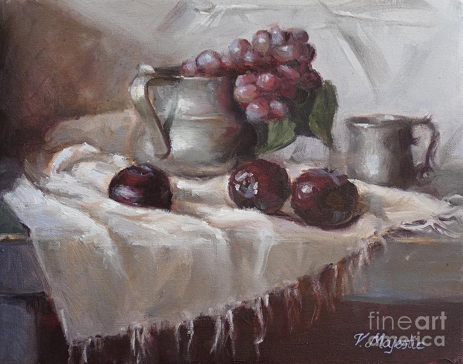 Plums Painting - Plums Grapes And Pewter by Viktoria K Majestic