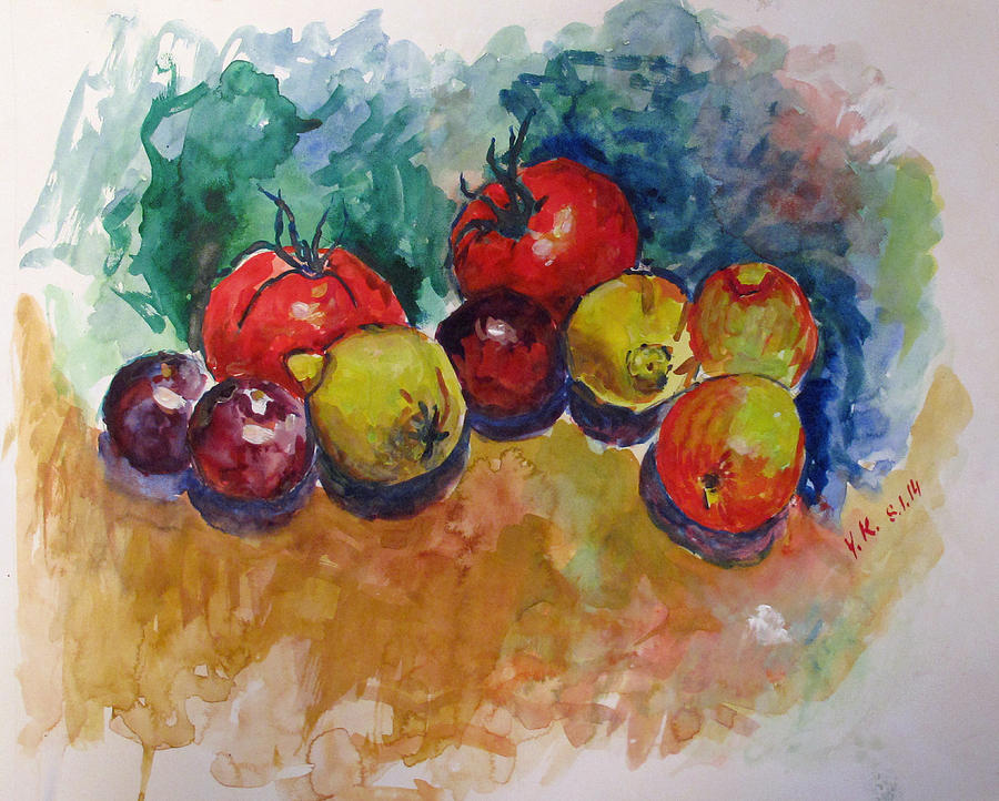 Watercolor Painting - Plums Lemons Tomatoes by Vladimir Kezerashvili