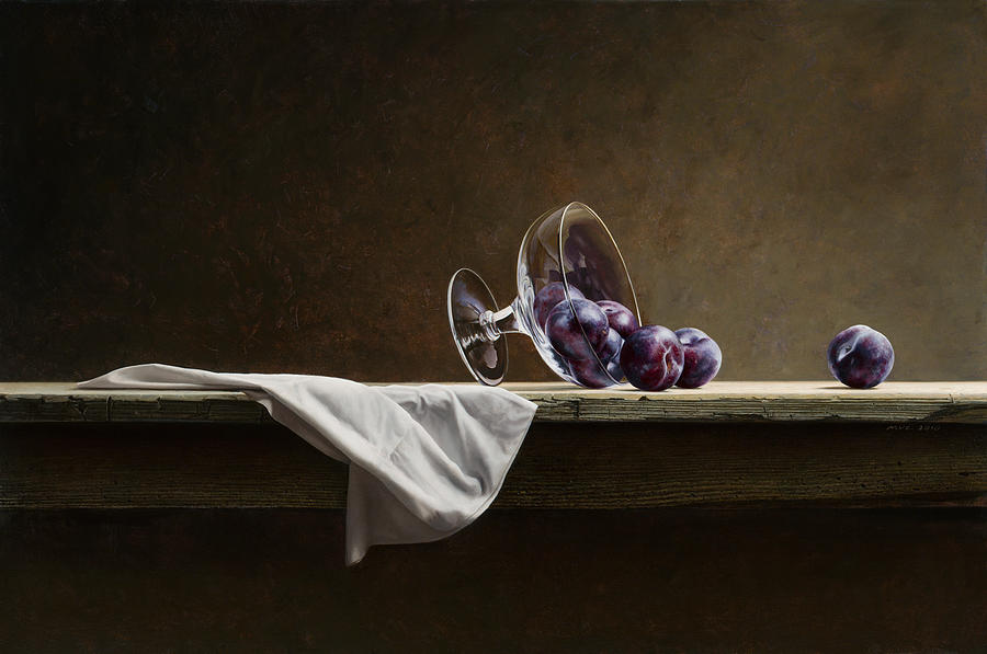 Stillife Painting - Plums by Mark Van crombrugge