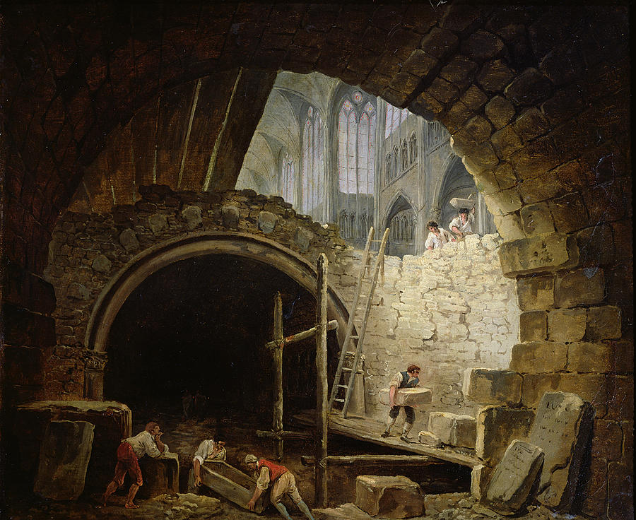Demolition Photograph - Plundering The Royal Vaults At St. Denis In October 1793 Oil On Canvas by Hubert Robert