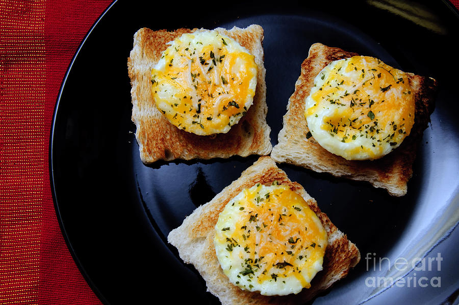 Fine Art Food Photograph - Poached Eggs On A Raft by Andee Design