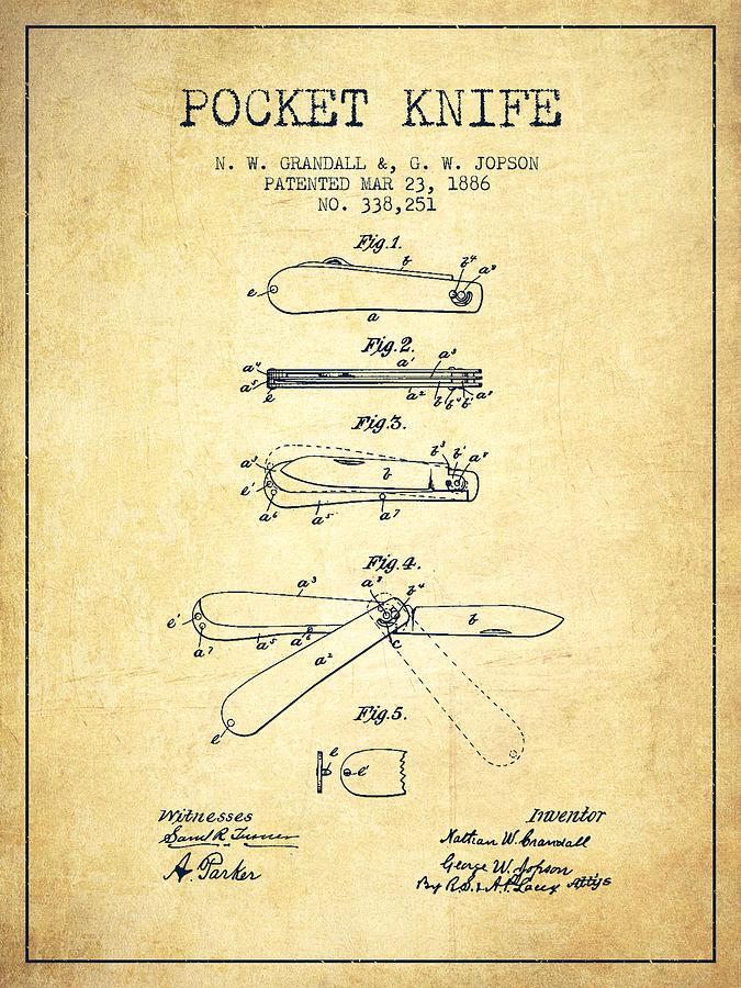 Pocket Knife Patent Drawing From 1886 Vintage Digital