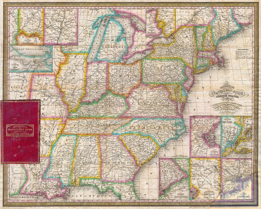 Major Cities Photograph - Pocket Map Of The United States by Paul Fearn