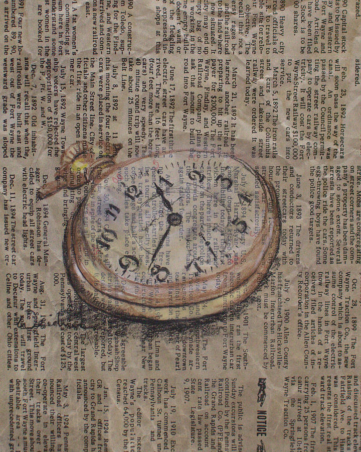 Pocket Watch Drawing - Pocket Watch by Kathy Weidner