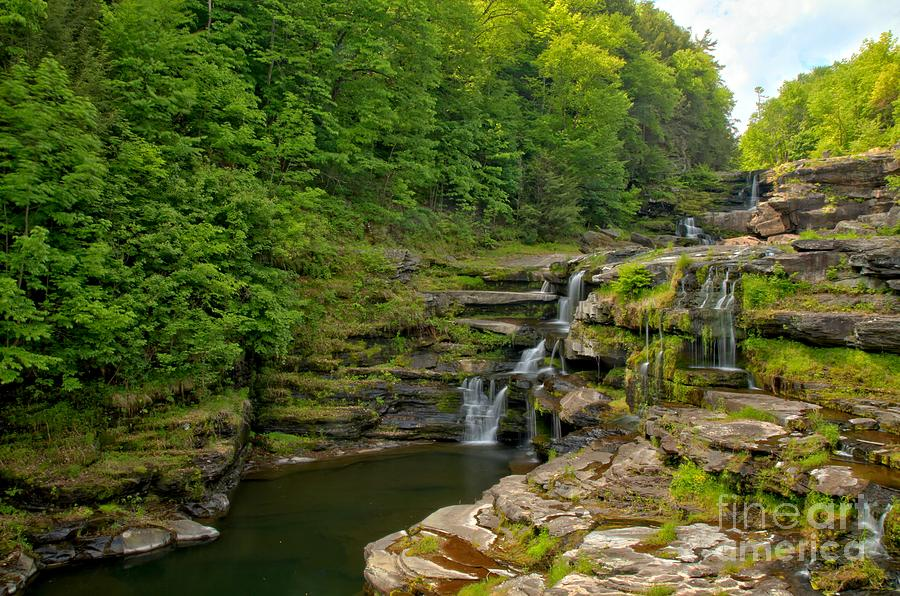 The Ledges Photograph - Poconos Ledges Waterfall by Adam Jewell