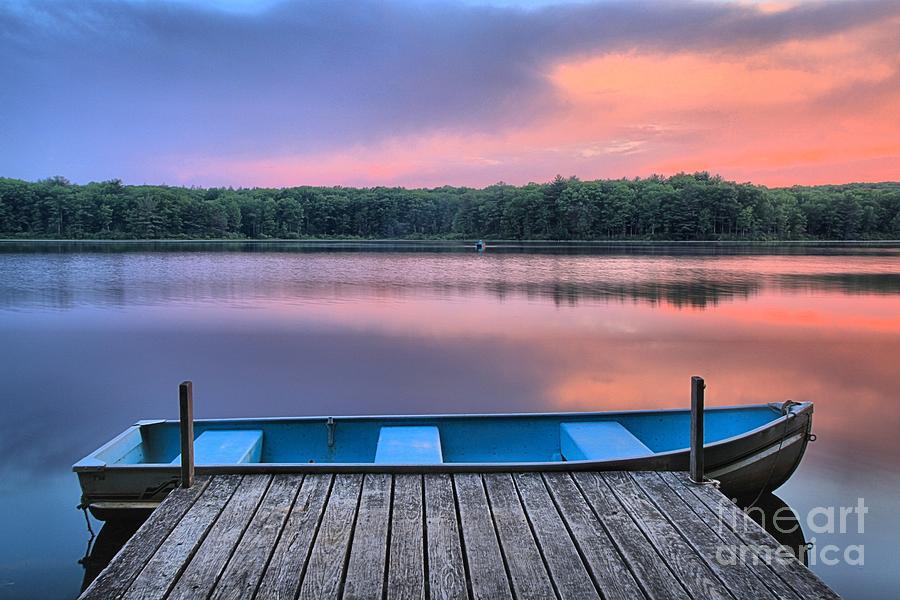 Rowboat Photograph - Poconos Lake Whitney Sunset Rowboat by Adam Jewell