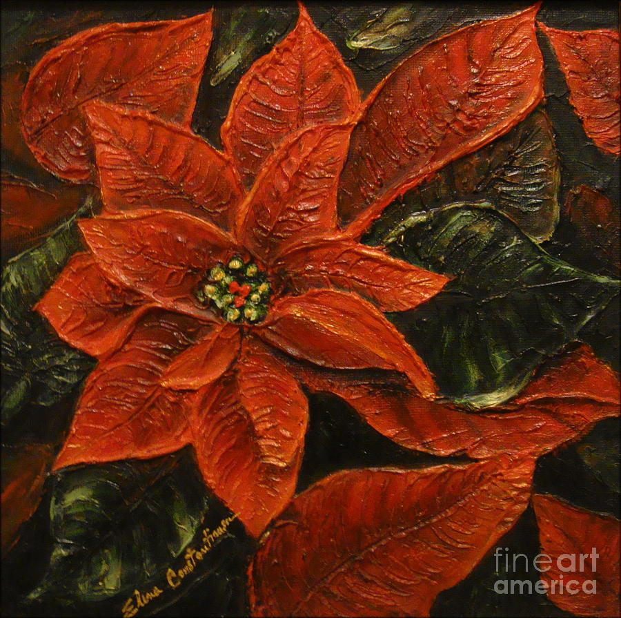 Poinsettia Painting - Poinsettia 2 by Elena  Constantinescu