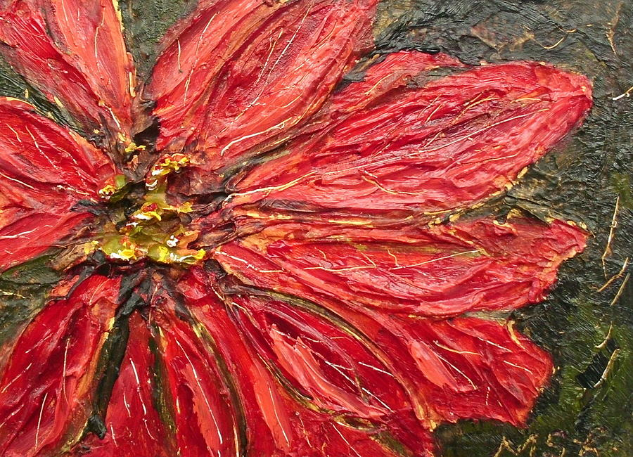 Red Poinsettia Painting - Poinsettia Sgraffito  by Maria Soto Robbins