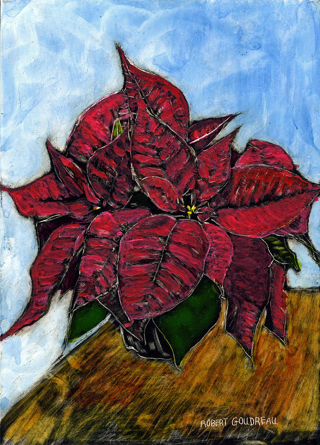 Impressionism Painting - Poinsettias by Robert Goudreau