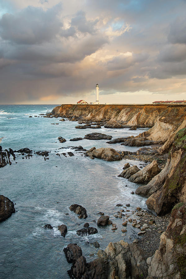 Point Arena Headland And Lighthouse Photograph by Kjschoen