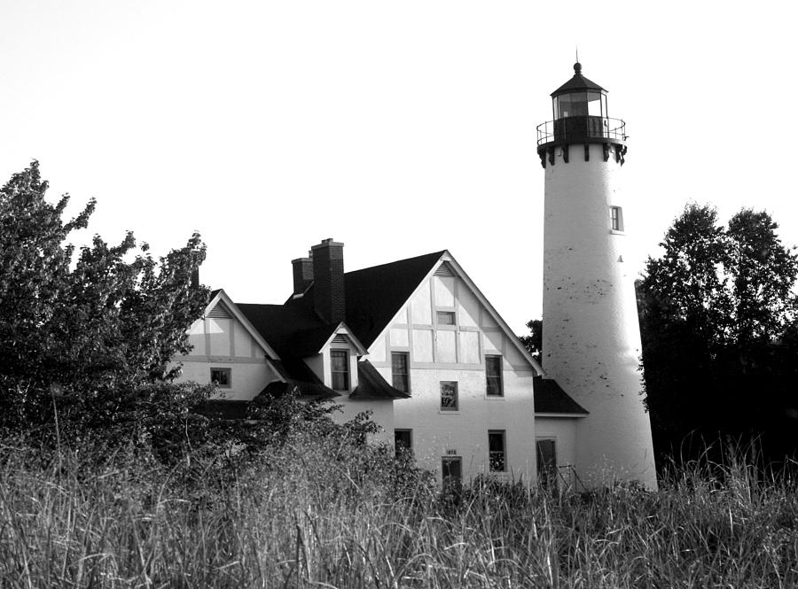 Black And White Photograph - Point Iroquois Lighthouse In B/w by Sharon McLain