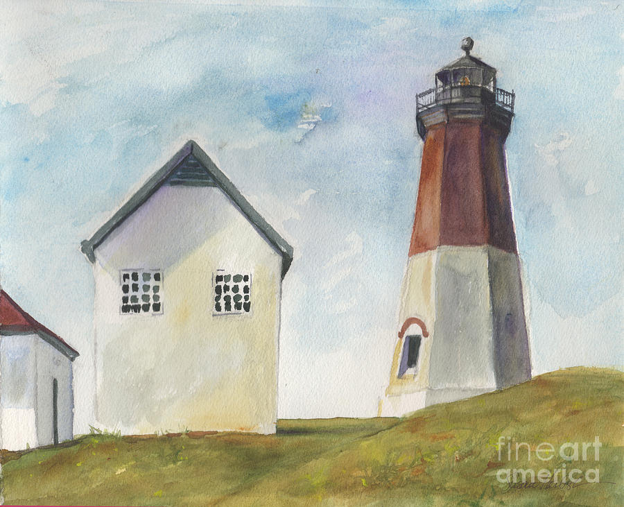 Lighthouse Painting - Point Judith Light by Susan Herbst