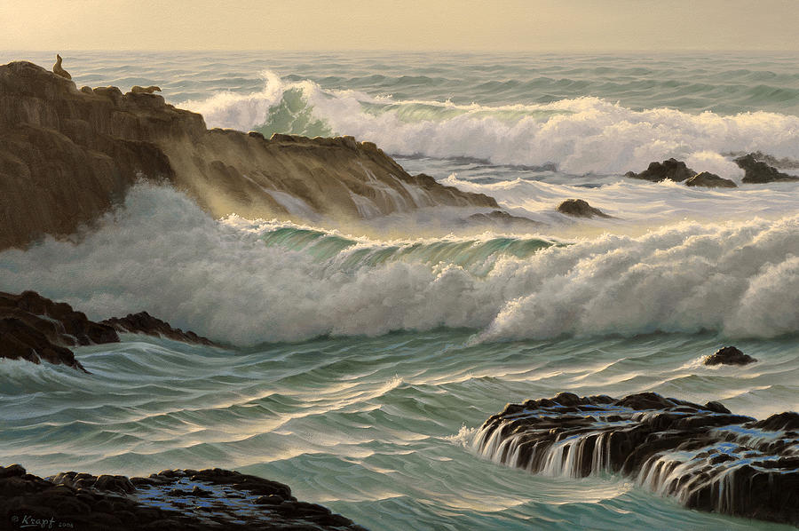 Seascape Painting - Point Lobos Seascape    by Paul Krapf