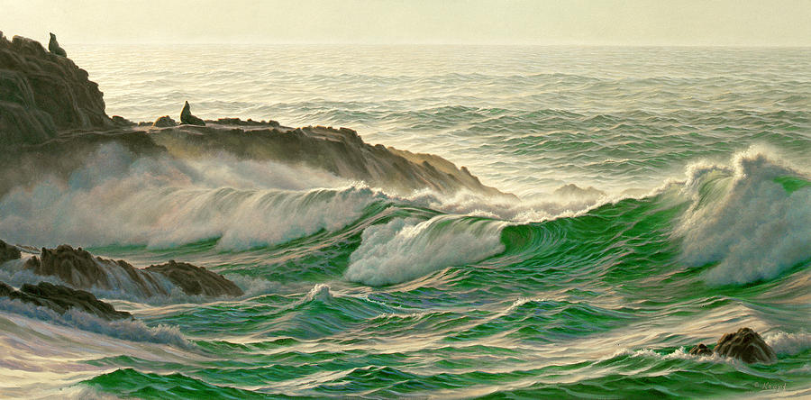 Seascape Painting - Point Lobos Surf by Paul Krapf