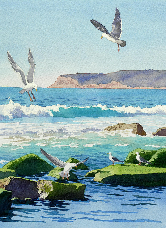 Point Loma Painting - Point Loma Rocks Waves And Seagulls by Mary Helmreich