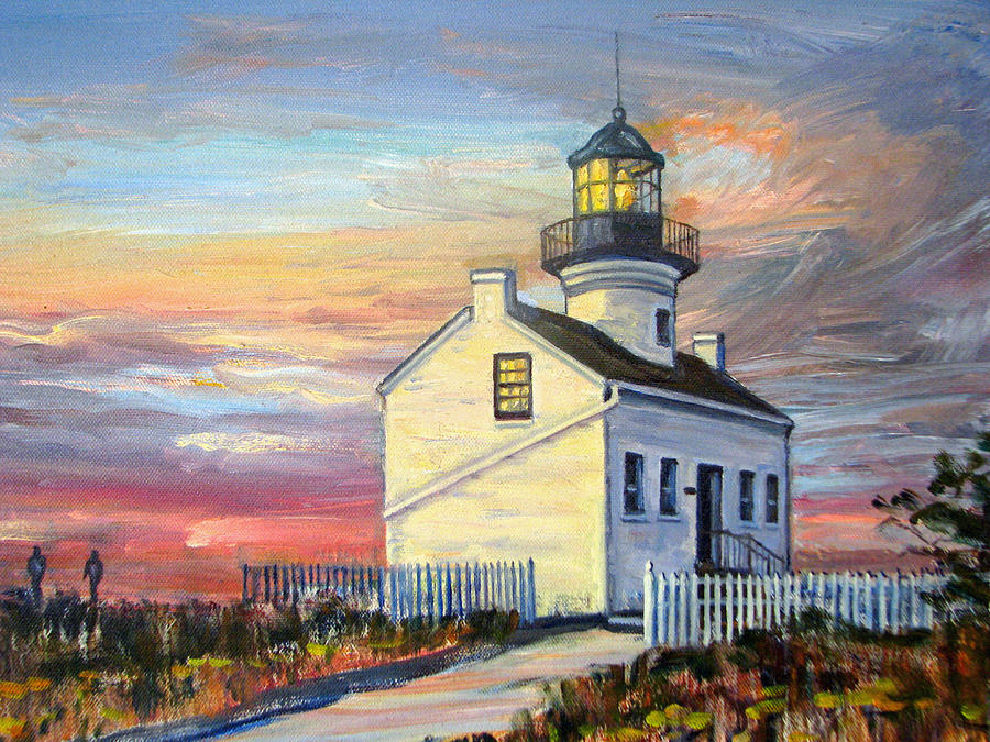 Point Loma San Diego Lighthouse At Sunset Painting By