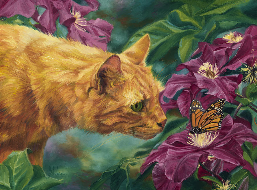 Cat Painting - Point Of Interest by Lucie Bilodeau