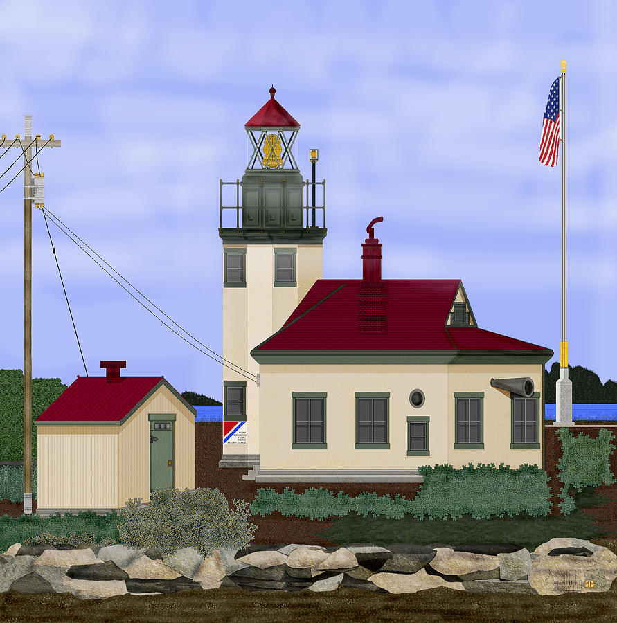 Point Robinson Lighthouse Painting - Point Robinson With Shoreline Detail 2013 by Anne Norskog