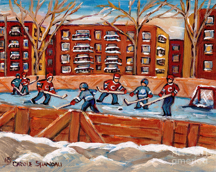 Montreal Painting - Pointe St. Charles Hockey Rink Southwest Montreal Winter City Scenes Paintings by Carole Spandau