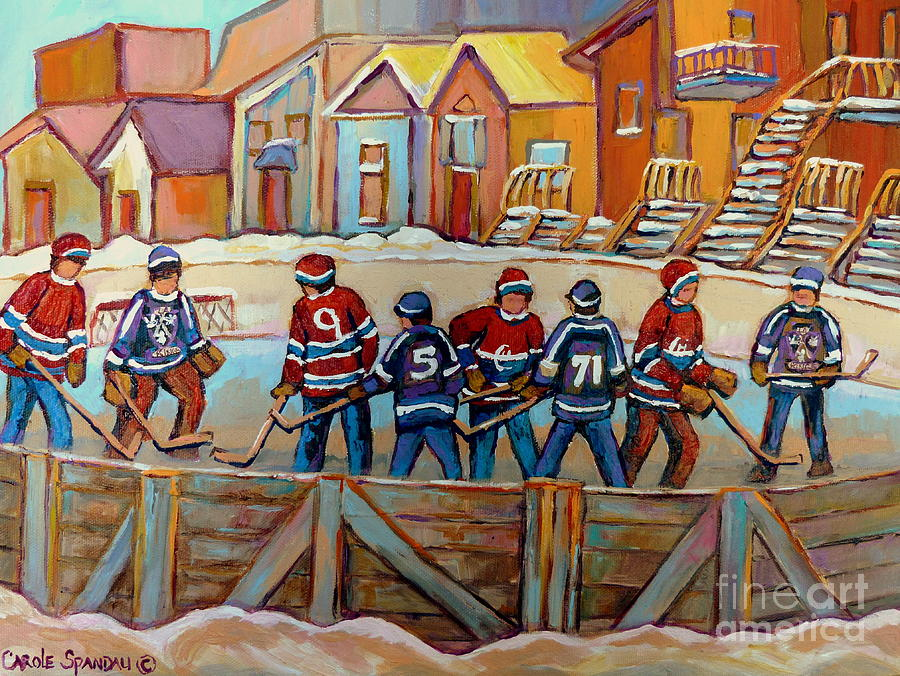 Montreal Painting - Pointe St. Charles Hockey Rinks Near Row Houses Montreal Winter City Scenes by Carole Spandau