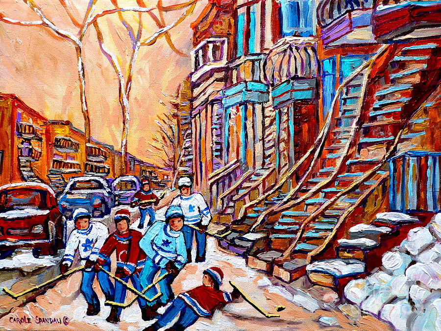 Montreal Painting - Pointe St.charles Hockey Game Near Winding Staircases Montreal Winter City Scenes by Carole Spandau