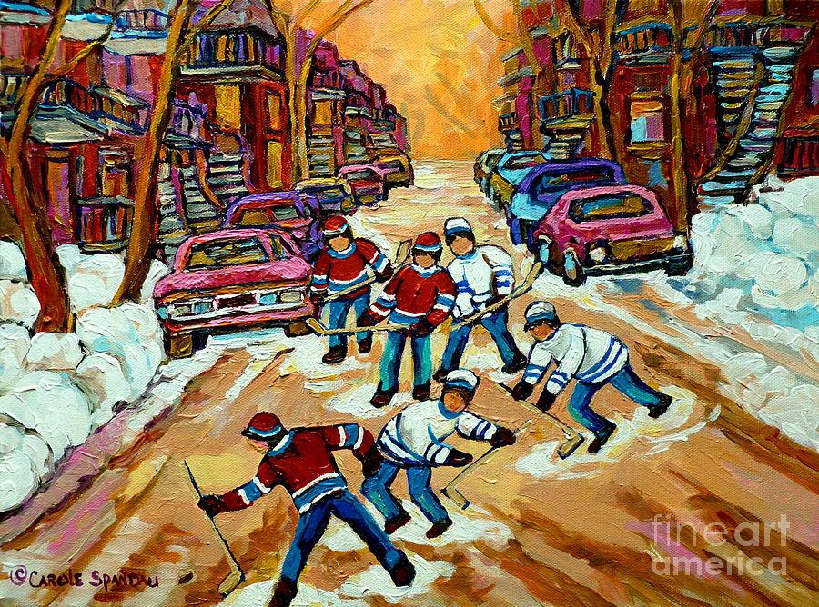 Montreal Painting - Pointe St.charles Hockey Game Winter Street Scenes Paintings by Carole Spandau