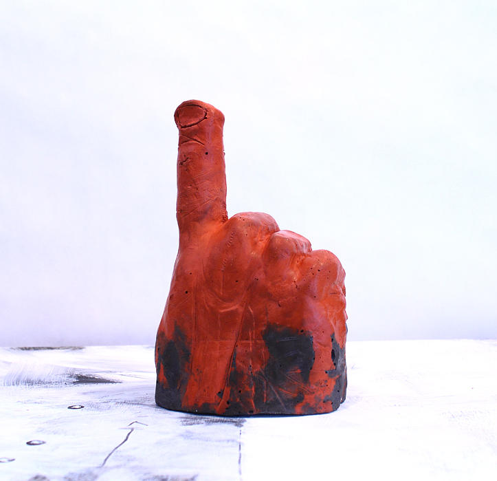 Red Sculpture - Pointing Finger Of Blame - Lava by Mark M  Mellon