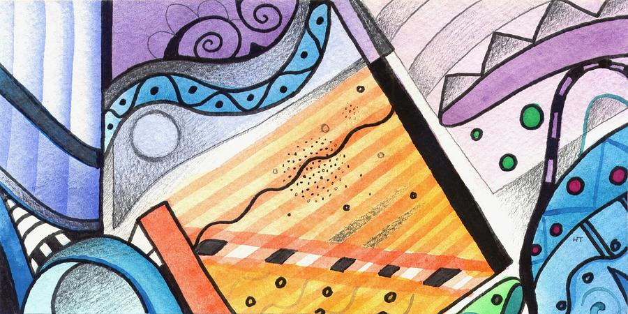 Abstract Painting - Points Lines And Circles by Helena Tiainen